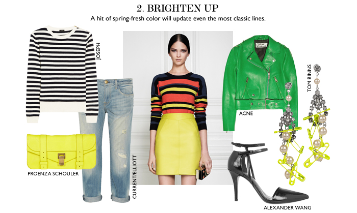 BRIGHTEN UP A hit of spring–fresh color will update even the most classic lines.