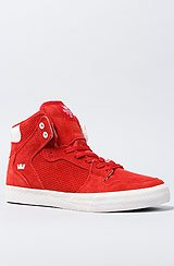 The Vaider Sneaker in Red Perf Suede & White