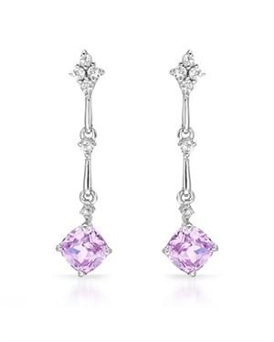 Ladies Diamond Earrings Designed In 14K White Gold $65
