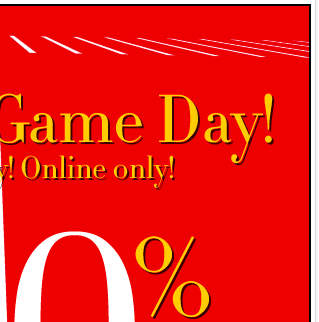 Celebrate game day! 40% off sitewide - Online only Sunday!