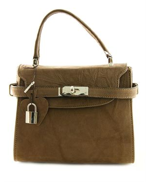 EA Solid Color Suede Padlock Satchel Made in Italy