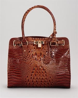 Vecceli Alligator Embossed Lock Detail Shoulder Bag