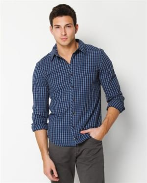 VBN Clothing Two-Tone Plaid Button-Up Shirt
