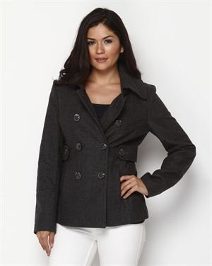 Nine West Wool-Blend Button Accented Coat