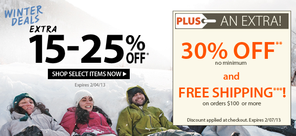 Winter Deals! An Extra 15-25% OFF Select Items! PLUS FREE Shipping on orders $100+ & An Extra 30% OFF!
