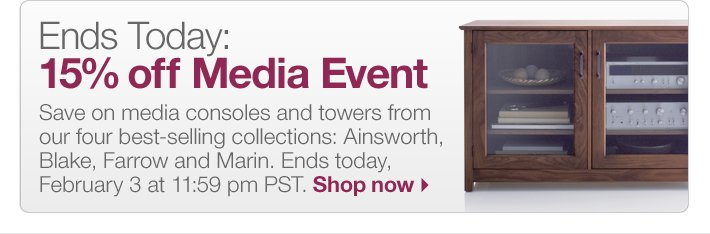 Ends Today: 15% off Media Event