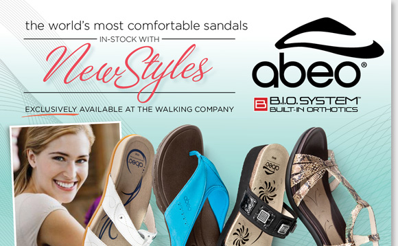 New ABEO B.I.O.system arrivals are in-stock! Experience the revolutionary custom 3-D fit comfort of the world's most comfortable sandal brand. Featuring built-in orthotics, enjoy reduced shock and stress on joints, increased stability, and the ultimate style! Exclusively available at The Walking Company.