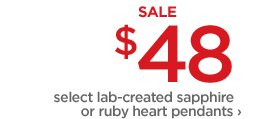 SALE $48 | select lab-created sapphire or ruby heart pendants›