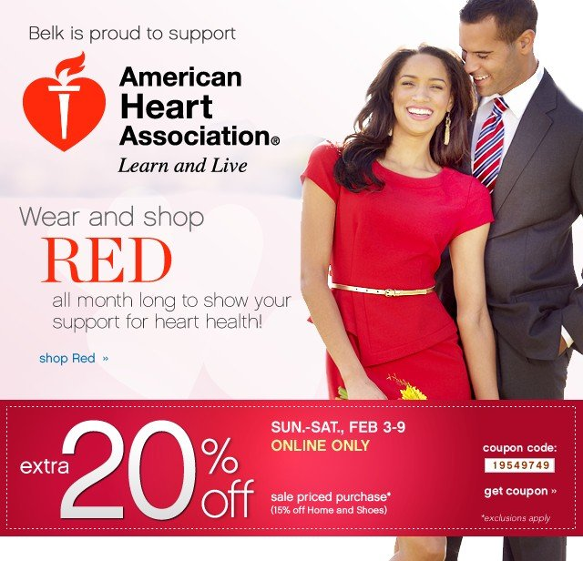 American Heart Association. Shop Red. Extra 20% off. Get coupon.