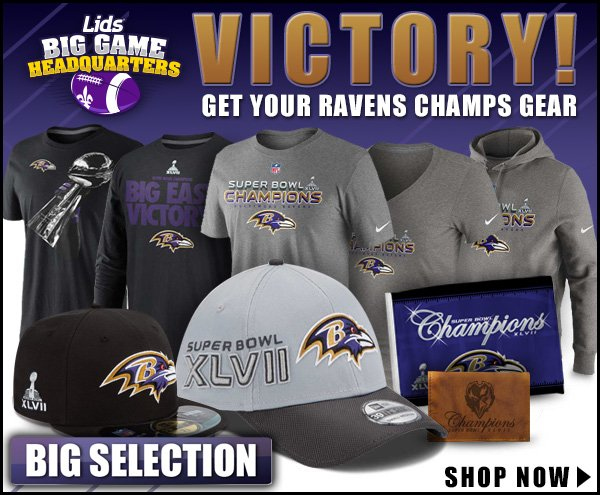 Victory! Grab your Ravens Champs Gear.