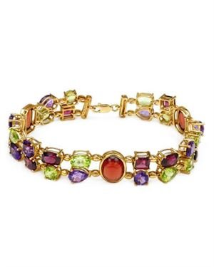 Ladies Garnet Bracelet Designed In 10K Yellow Gold $609