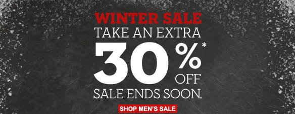 Winter Sale: take an extra 30%* off. Sale ends soon. Shop Men's Sale