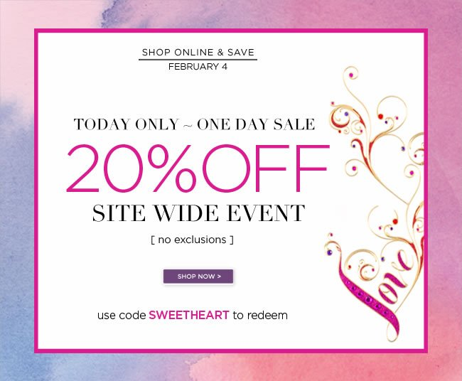 Today Only - February 4, 2013  Save 20% Off Your Online Purchase   Use code SWEETHEART to redeem     Only at www.papyrusonline.com
