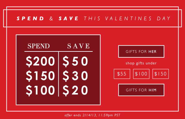 Spend & Save This Valentines Day
