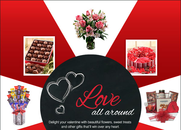 Love all around Delight your valentine with beautiful flowers, sweet treats and other gifts that'll win over any heart.