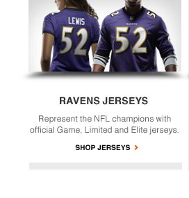 RAVENS JERSEYS | Represent the NFL champions with official Game, Limited and Elite jerseys. | SHOP JERSEYS