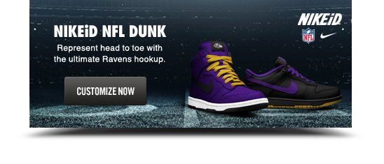 NIKEiD NFL DUNK | Represent head to toe with the ultimate Ravens hookup. | CUSTOMIZE NOW