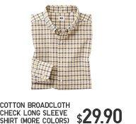 COTTON BROADCLOTH CHECK LONG SLEEVE SHIRT