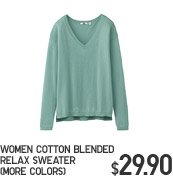 WOMEN COTTON BLENDED RELAX SWEATER