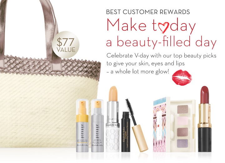 BEST CUSTOMER REWARDS. Make T♥day a beauty - filled day. Celebrate V-day with our top beauty picks to give your skin, eyes and lips - a whole lot more glow! $77 VALUE.