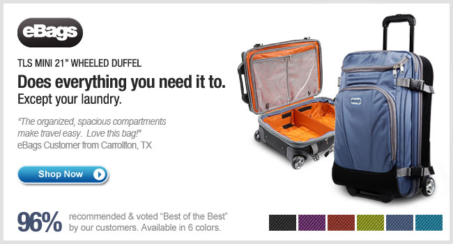 "The eBags Brand Mother Lode TLS Mini 21"" Wheeled Duffel - Shop Now >"