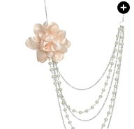 Pearl Chiffon Swag Necklace