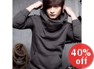 Buttoned Hooded Pullover
