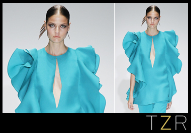 Gucci Turquoise Green Washed Silk Flouce Top