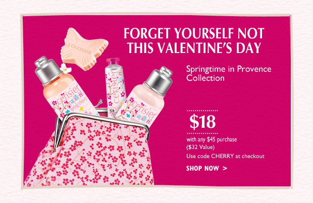 Forget yourself not this Valentines Day!  With any $65 purchase* Never sold in boutiques, this gift is as rare and delicate as the cherry blossom itself.