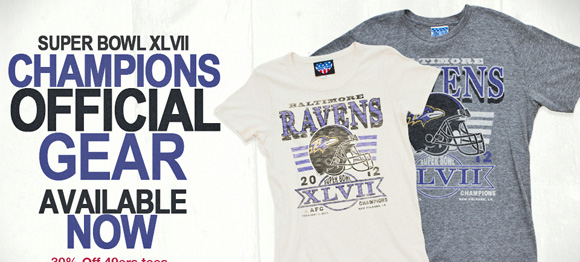 Super Bowl XLVII Champions. Official gear available now. 30% off 49ers gear.