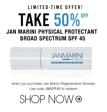 Limited-Time Offer! Take 50% off DDF Dramatic Results Kit when you purchase Jan Marini Regeneration Booster. Use code JMSPF45 to redeem. Shop Now>>