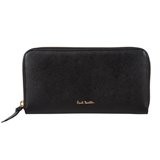 Paul Smith Purses - Black Saffiano Zip Around Purse