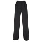 Paul Smith Trousers - Black Pleated Front Parallel Leg Trousers