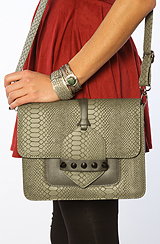 The Snake Purse with Spike Detail in Grey