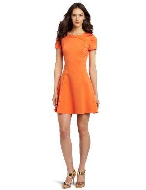 HALSTON HERITAGE <br/> Short Sleeve Dress W Cross Neck Detail