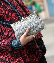 Jeweled Woven Clutch