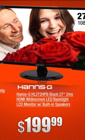 Hanns-G HL272HPB Black 27 inch 2ms HDMI Widescreen LED Backlight LCD Monitor w/ Built-in Speakers