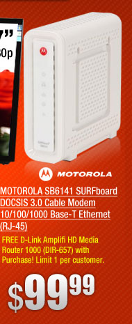 MOTOROLA SB6141 SURFboard DOCSIS 3.0 Cable Modem 10/100/1000 Base-T Ethernet (RJ-45)