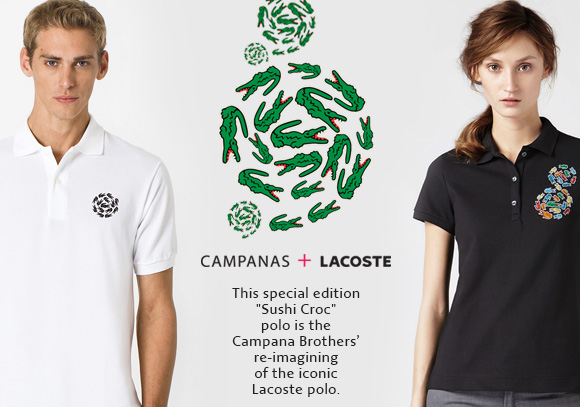 "CAMPANAS + LACOSTE. This special edition ""Sushi Croc""  Campana Brother's re–imagining of the iconic Lacoste Polo"