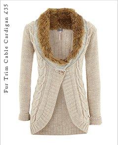 Fur Trim Cable Cardigan