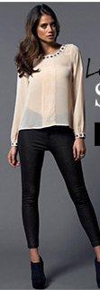 Pleat Front Embellished Blouse