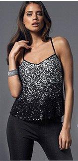 Textured Sequin Cami Vest Top