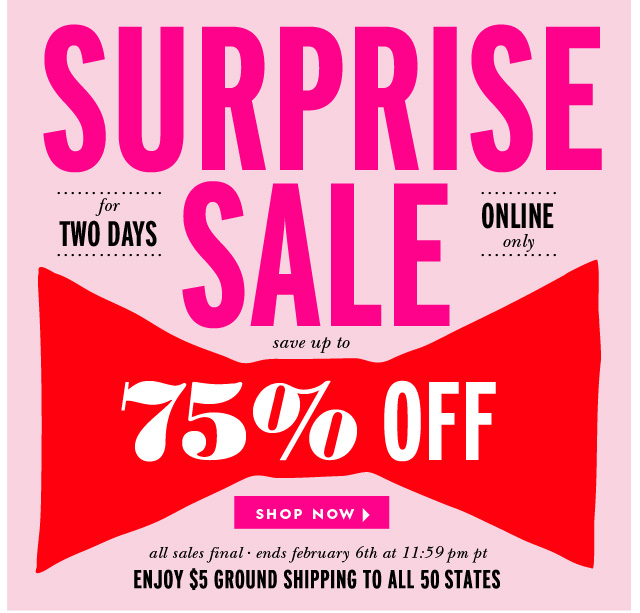 surprise sale.  save up to 75% off.  shop now.