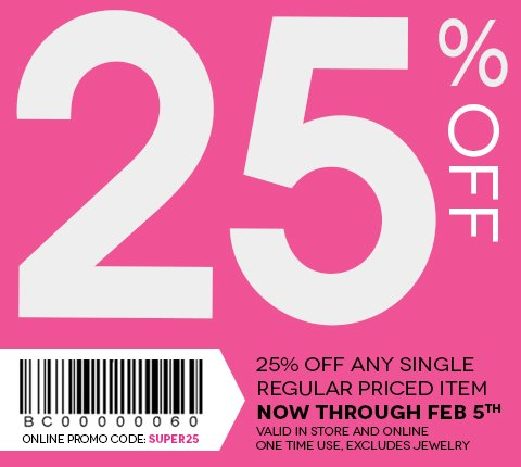 Take 25% off any single regular price item with code SUPER25