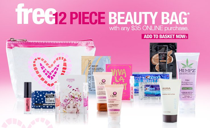 Free 12 piece Beauty Bag with any $35 online purchase. Add to Basket Now.