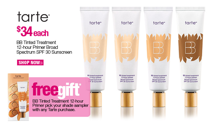 Tarte BB Tinted Treatment 12-hour Primer Broad Spectrum SPF 30 Sunscreen - $34 each. Shop Now. Free BB Tinted Treatment 12 hr primer pick your shade sampler with any Tarte purchase.