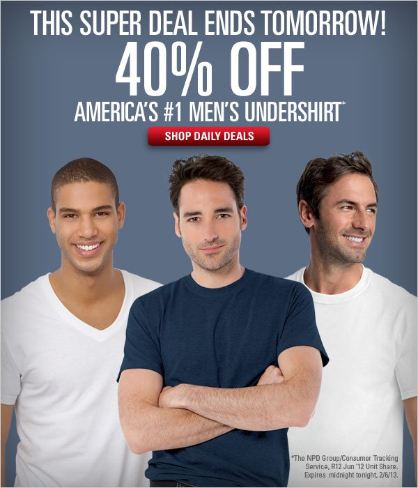 40% off Men's Undershirts