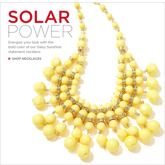 SOLAR POWER | Energize your look with the bold color of our Daisy Sunshine statement necklace. SHOP NECKLACES