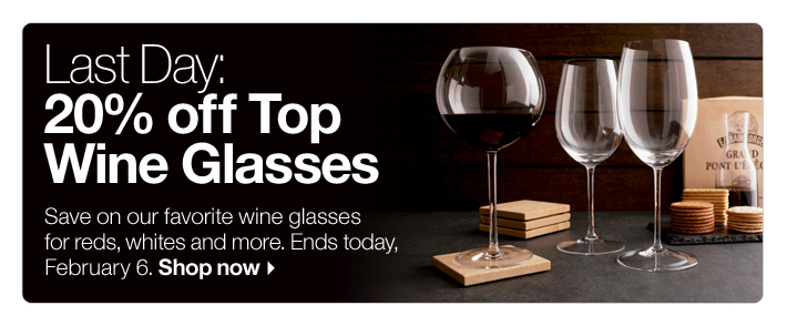 Last Day: 20% off Top Wine Glasses