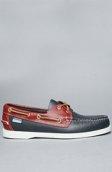 <b>Sebago</b><br />The Spinnaker Boat Shoe in Navy & Red